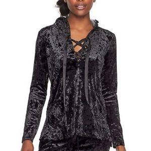 Juicy Couture Lace Up Velvet Hoodie XL BLACK